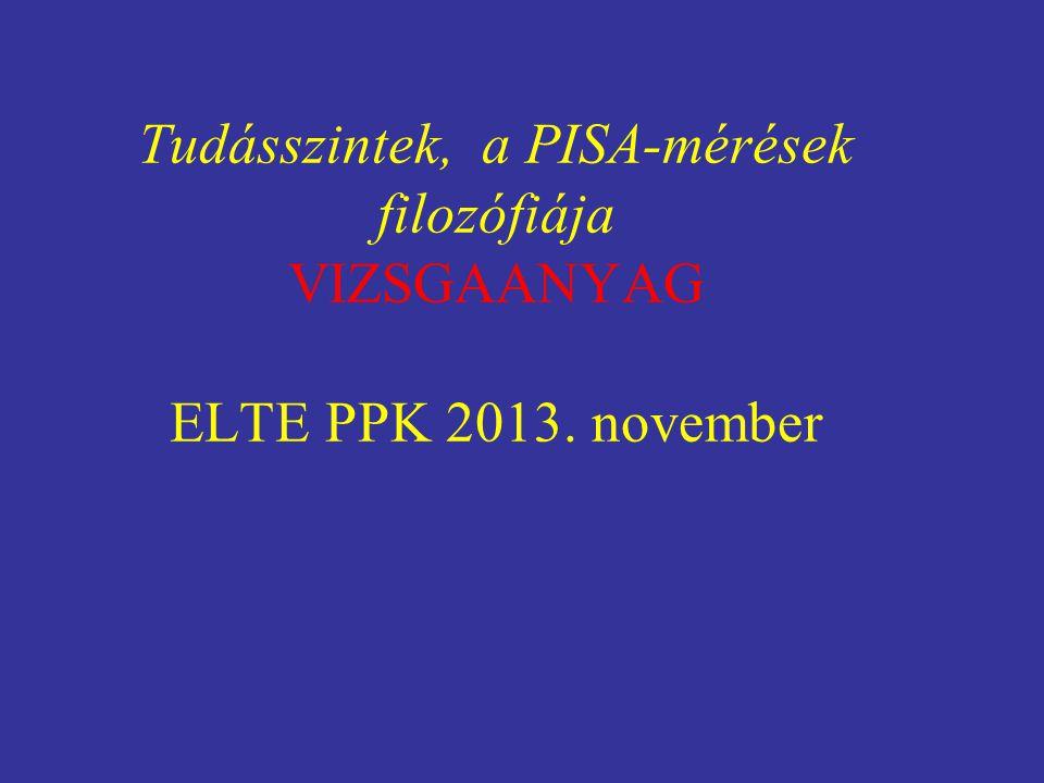 Tudásszintek, a PISA-mérések filozófiája VIZSGAANYAG ELTE PPK 2013