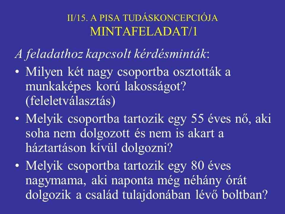 II/15. A PISA TUDÁSKONCEPCIÓJA MINTAFELADAT/1
