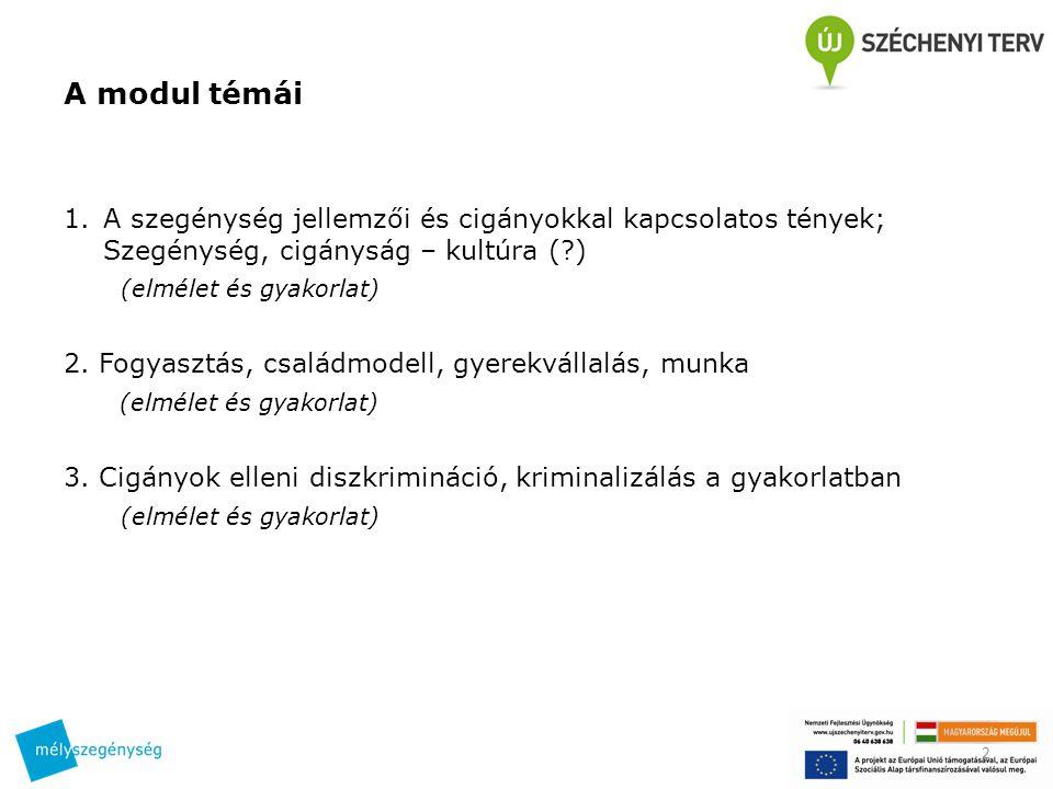 A modul témái A szegénység jellemzői és cigányokkal kapcsolatos tények; Szegénység, cigányság – kultúra ( )