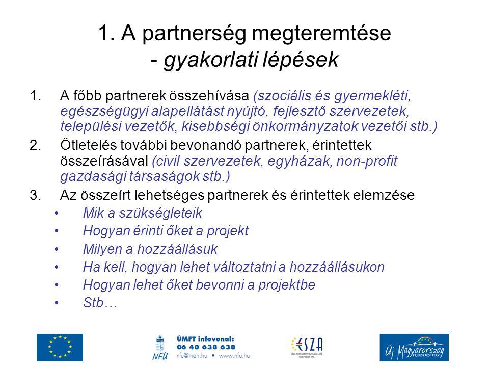 1. A partnerség megteremtése - gyakorlati lépések