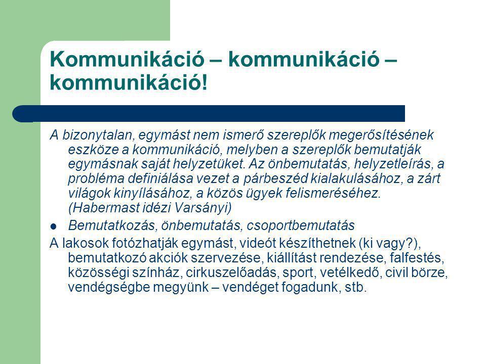 Kommunikáció – kommunikáció – kommunikáció!
