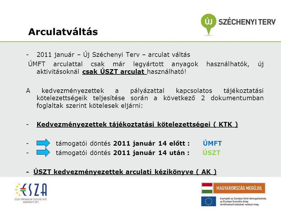 Arculatváltás 2011 január – Új Széchenyi Terv – arculat váltás