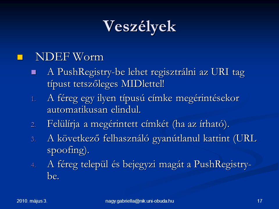 Veszélyek NDEF Worm. A PushRegistry-be lehet regisztrálni az URI tag típust tetszőleges MIDlettel!