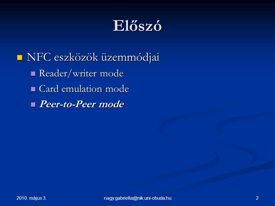 Előszó NFC eszközök üzemmódjai Reader/writer mode Card emulation mode
