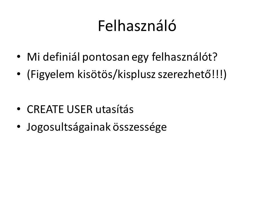 Felhasználó Mi definiál pontosan egy felhasználót
