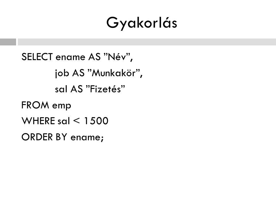 Gyakorlás SELECT ename AS Név , job AS Munkakör , sal AS Fizetés FROM emp WHERE sal < 1500 ORDER BY ename;