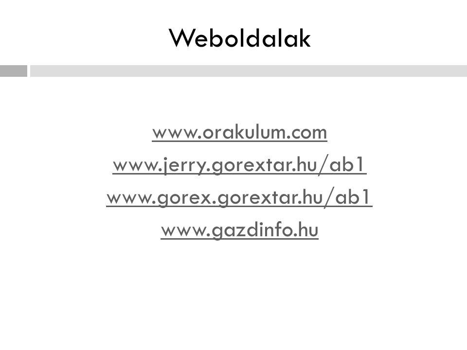 Weboldalak www.orakulum.com www.jerry.gorextar.hu/ab1