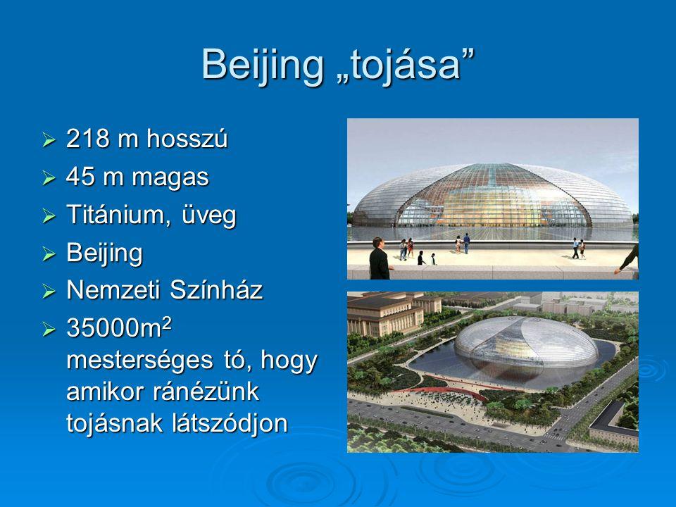 "Beijing ""tojása 218 m hosszú 45 m magas Titánium, üveg Beijing"