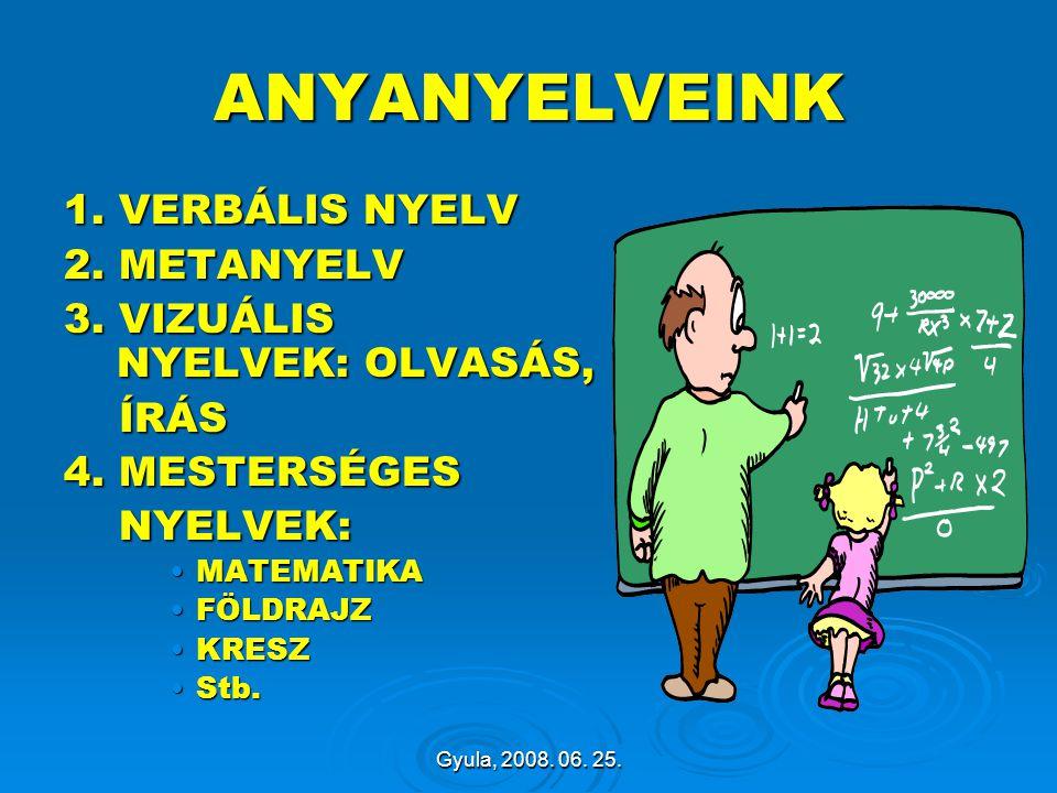 ANYANYELVEINK 1. VERBÁLIS NYELV 2. METANYELV