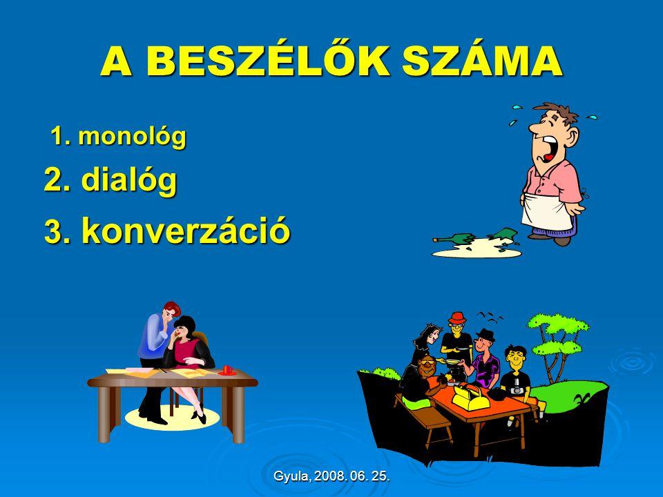 A BESZÉLŐK SZÁMA 2. dialóg 3. konverzáció 1. monológ