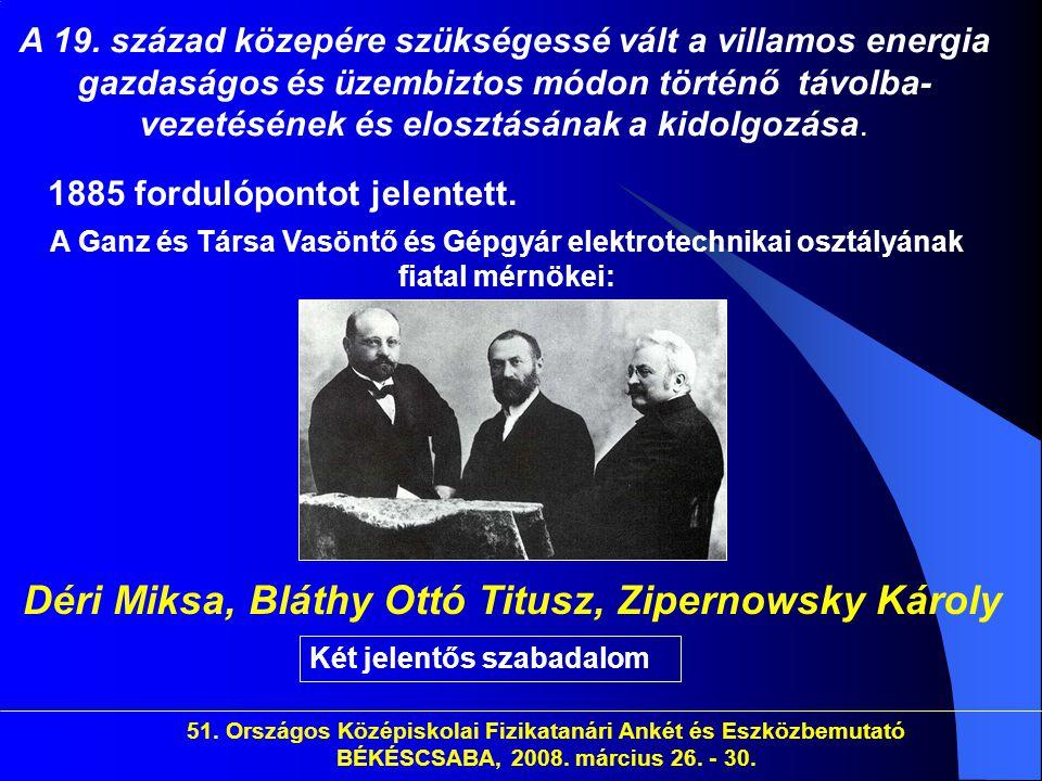 Déri Miksa, Bláthy Ottó Titusz, Zipernowsky Károly