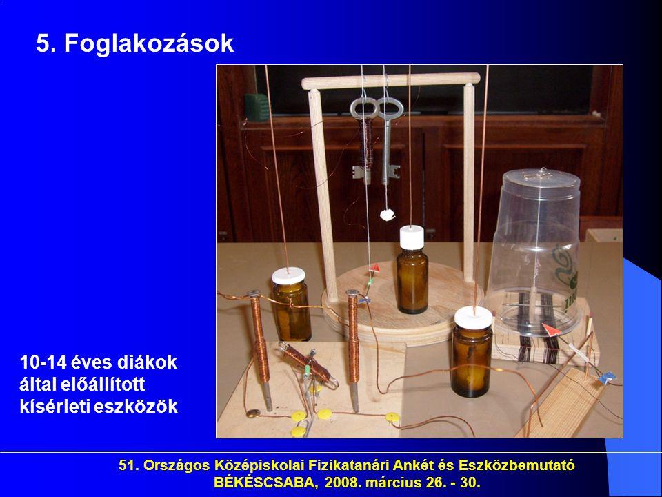 5. Foglakozások 10-14 éves diákok által előállított kísérleti eszközök