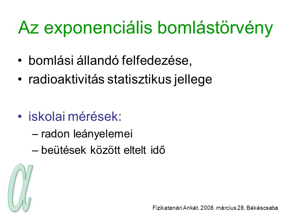 Az exponenciális bomlástörvény