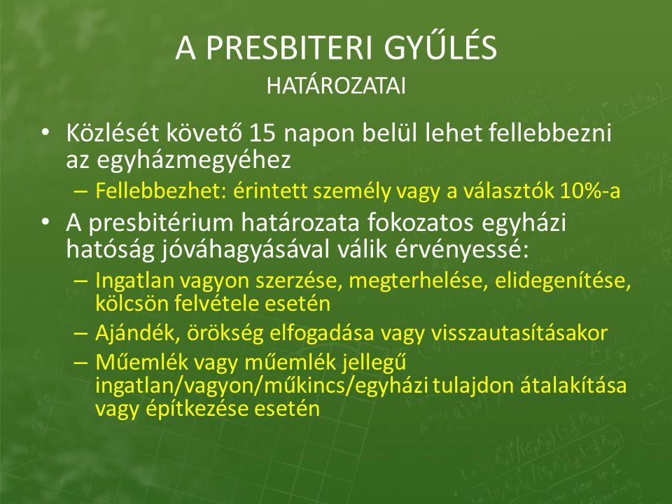 A PRESBITERI GYŰLÉS HATÁROZATAI