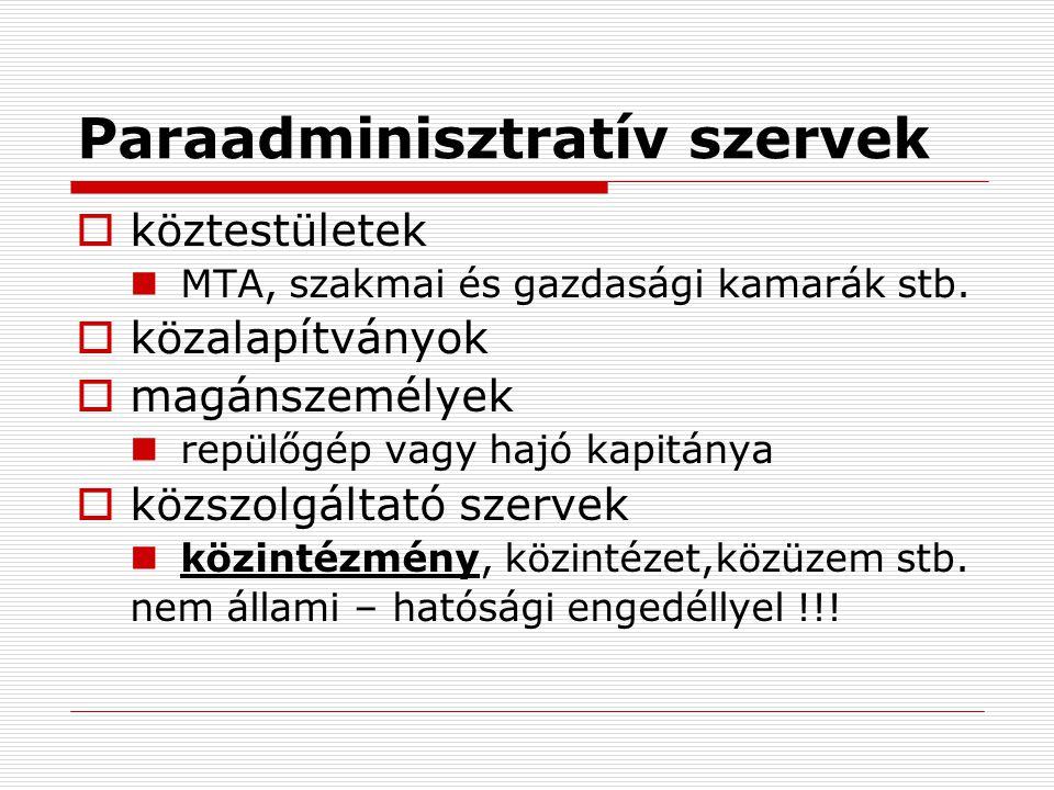 Paraadminisztratív szervek