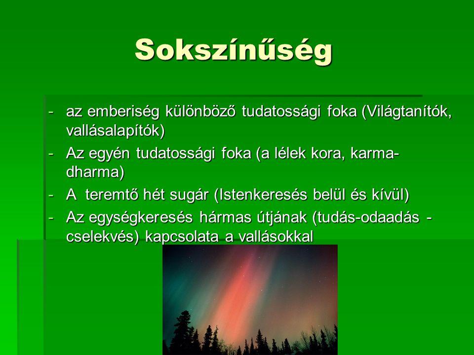 Sokszínűség az emberiség különböző tudatossági foka (Világtanítók, vallásalapítók) Az egyén tudatossági foka (a lélek kora, karma- dharma)