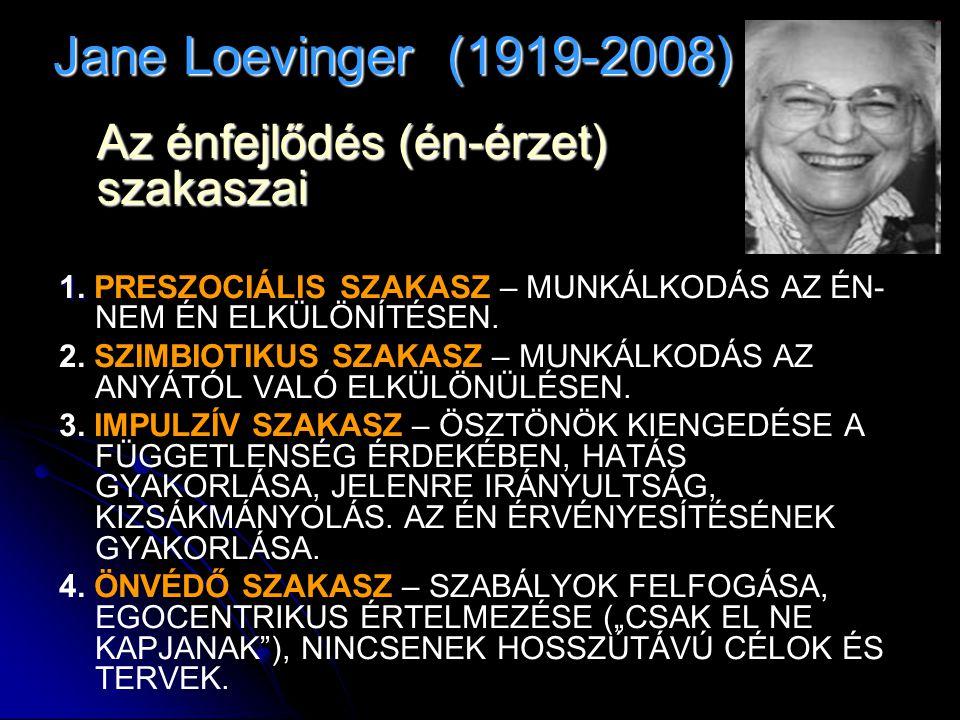 Jane Loevinger (1919-2008) Az énfejlődés (én-érzet) szakaszai