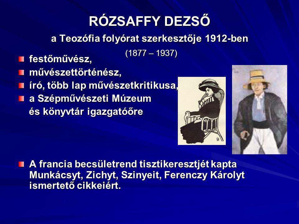 RÓZSAFFY DEZSŐ a Teozófia folyórat szerkesztője 1912-ben (1877 – 1937)