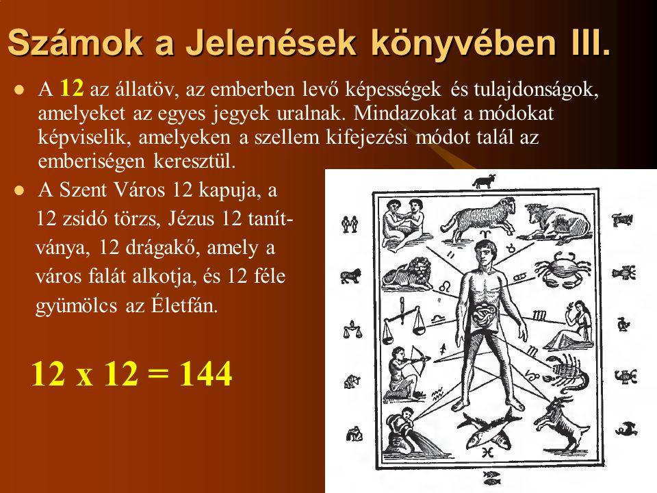 Számok a Jelenések könyvében III.