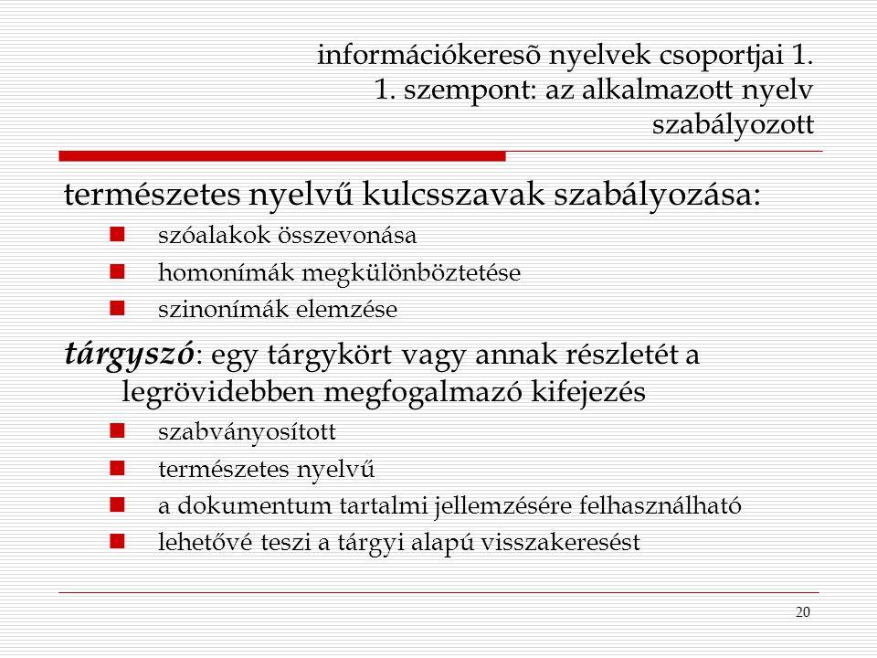 természetes nyelvű kulcsszavak szabályozása: