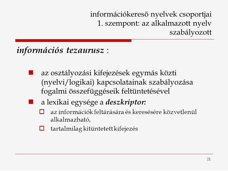 információs tezaurusz :