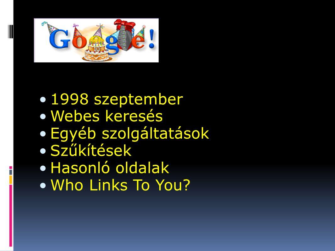 1998 szeptember Webes keresés Egyéb szolgáltatások Szűkítések Hasonló oldalak Who Links To You