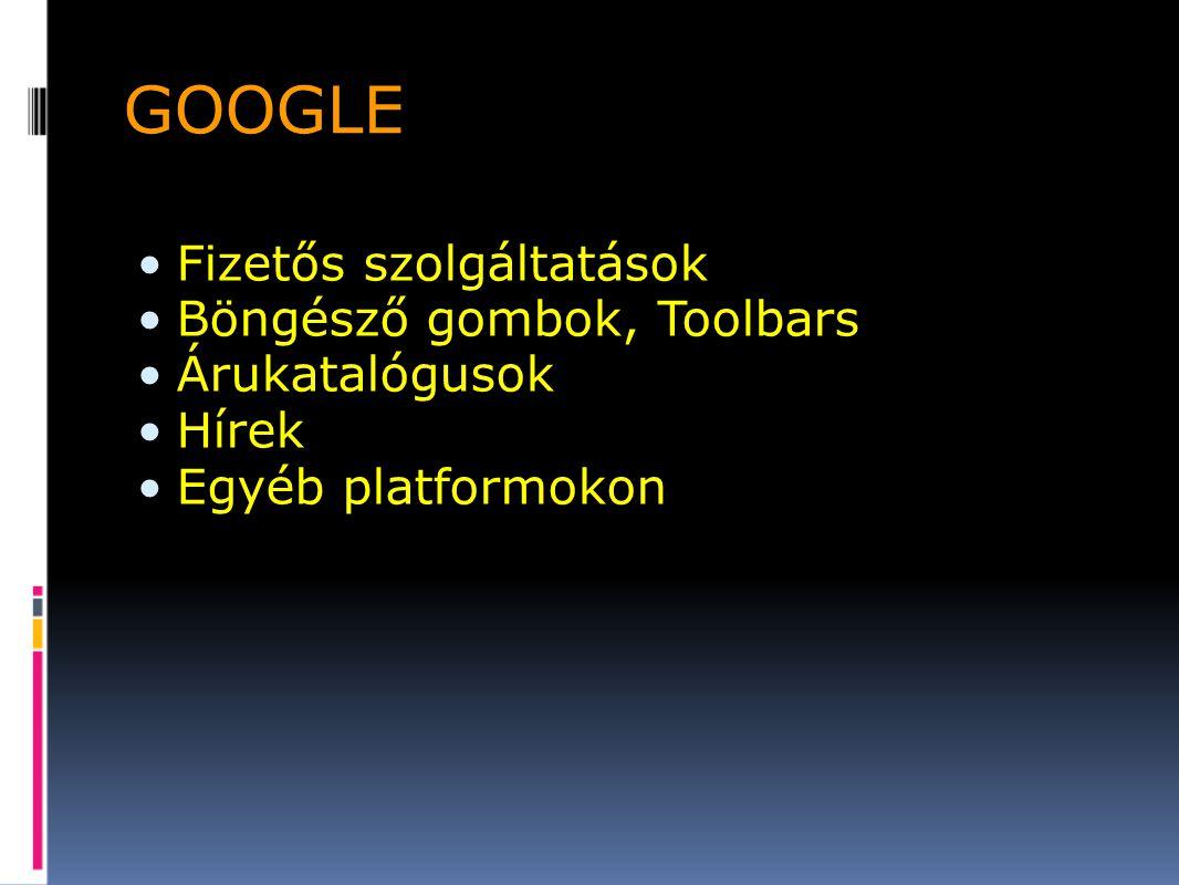 GOOGLE Fizetős szolgáltatások Böngésző gombok, Toolbars Árukatalógusok