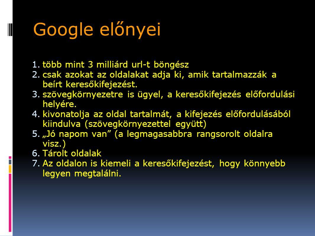 Google előnyei több mint 3 milliárd url-t böngész