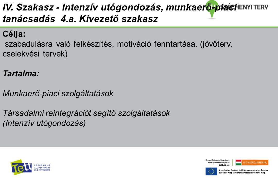 IV. Szakasz - Intenzív utógondozás, munkaerő-piaci tanácsadás 4. a