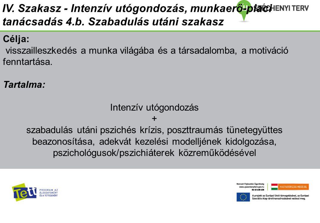 IV. Szakasz - Intenzív utógondozás, munkaerő-piaci tanácsadás 4. b