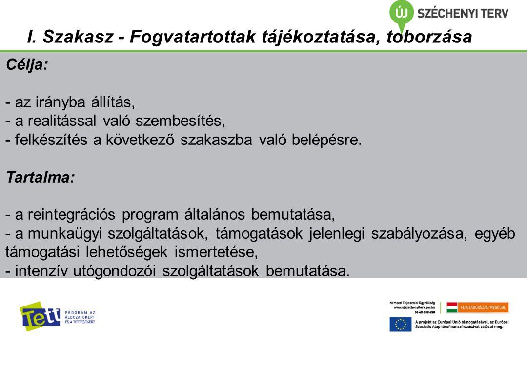 I. Szakasz - Fogvatartottak tájékoztatása, toborzása