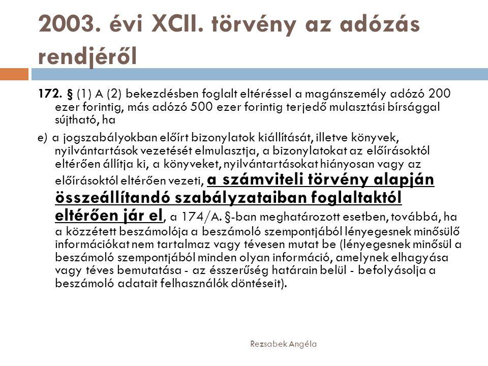 2003. évi XCII. törvény az adózás rendjéről
