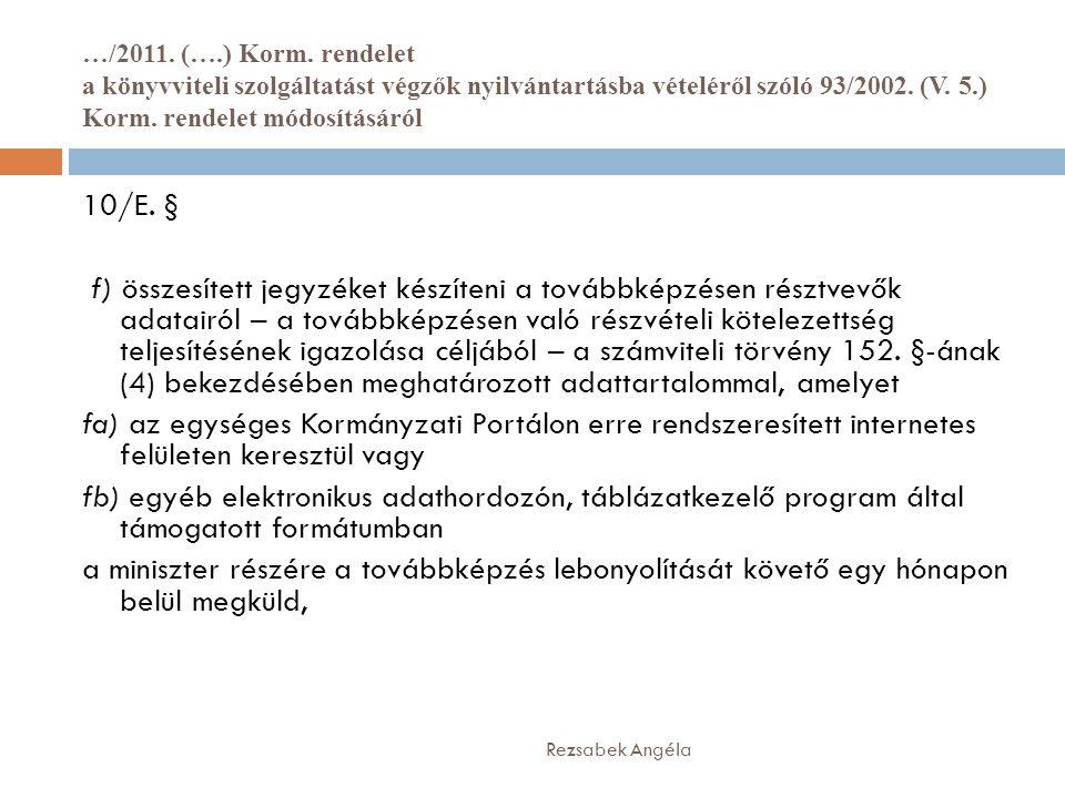 …/2011. (….) Korm. rendelet a könyvviteli szolgáltatást végzők nyilvántartásba vételéről szóló 93/2002. (V. 5.) Korm. rendelet módosításáról