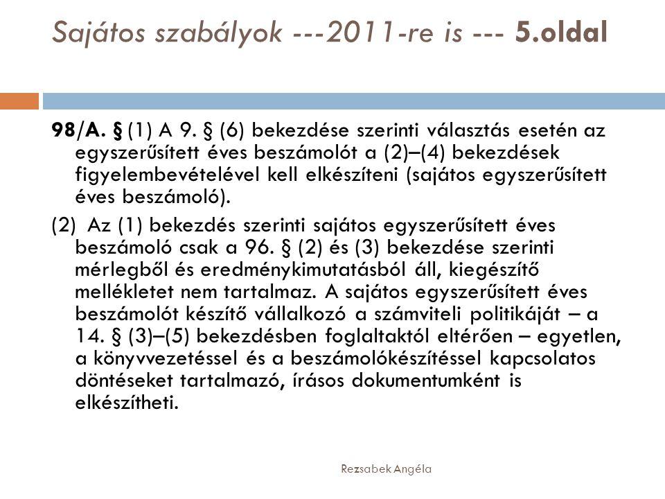 Sajátos szabályok ---2011-re is --- 5.oldal