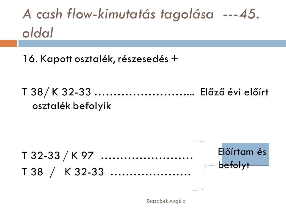 A cash flow-kimutatás tagolása ---45. oldal