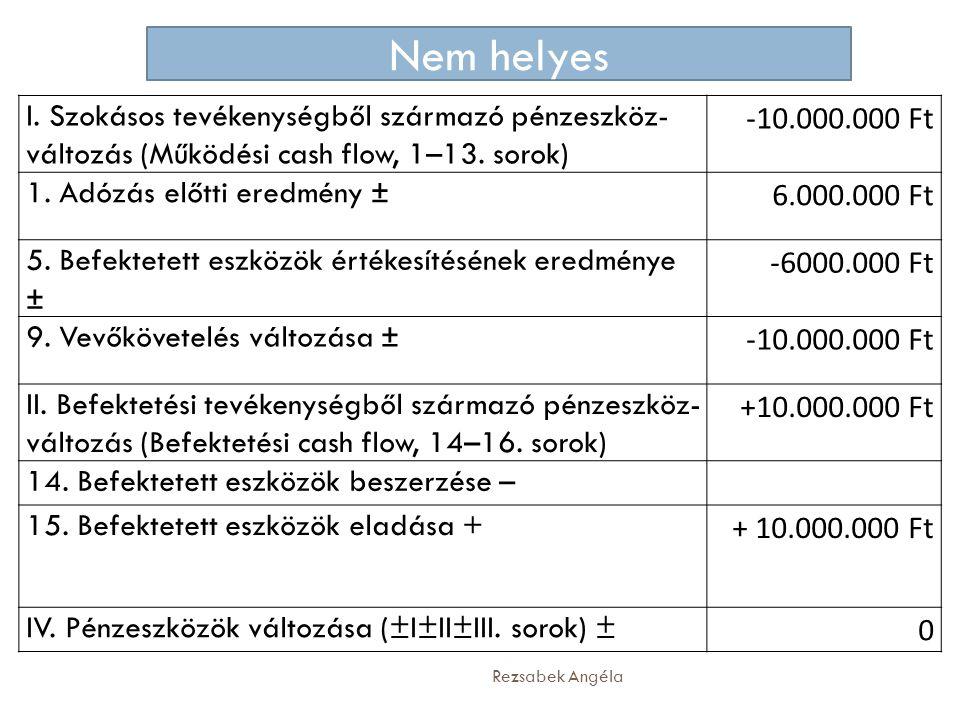 Nem helyes I. Szokásos tevékenységből származó pénzeszköz-változás (Működési cash flow, 1–13. sorok)