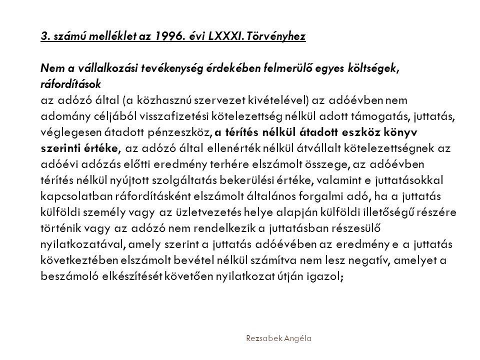 3. számú melléklet az 1996. évi LXXXI. Törvényhez