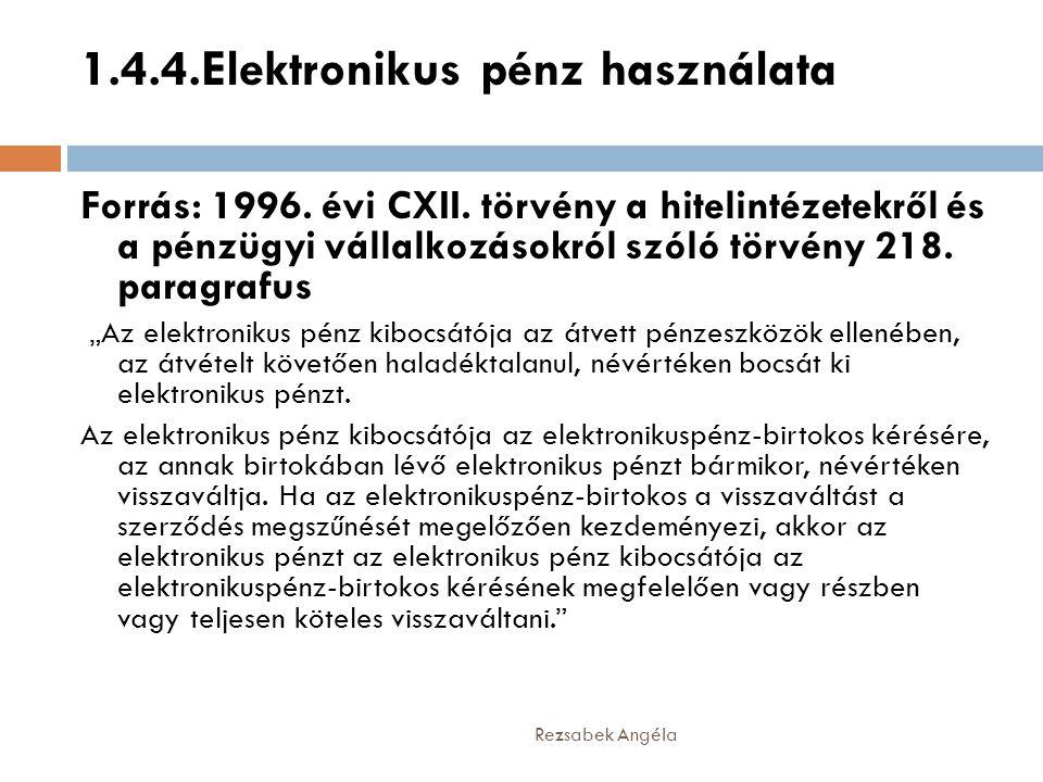 1.4.4.Elektronikus pénz használata