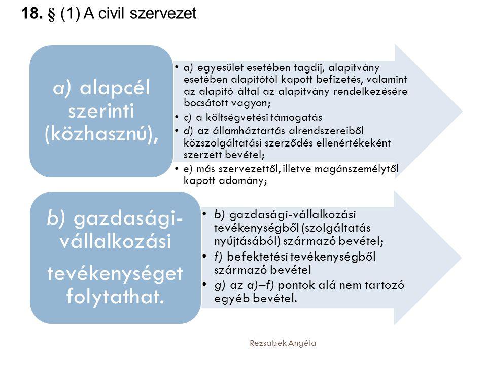 18. § (1) A civil szervezet a) alapcél szerinti (közhasznú),