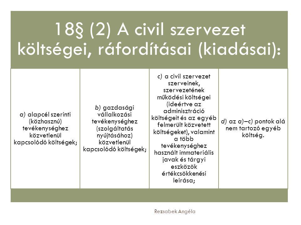 18§ (2) A civil szervezet költségei, ráfordításai (kiadásai):