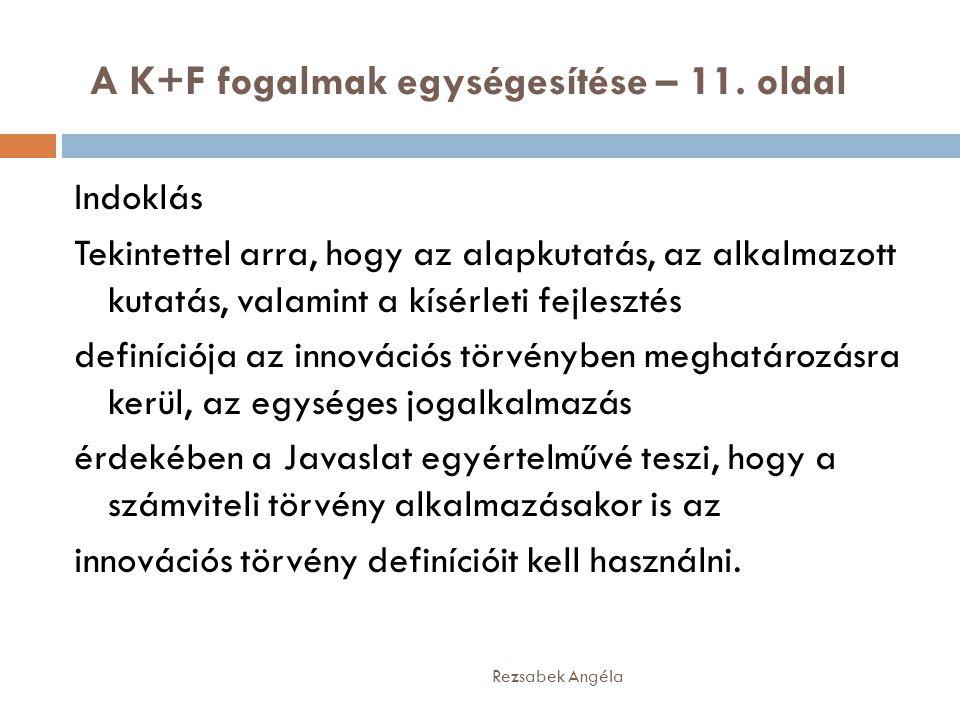 A K+F fogalmak egységesítése – 11. oldal