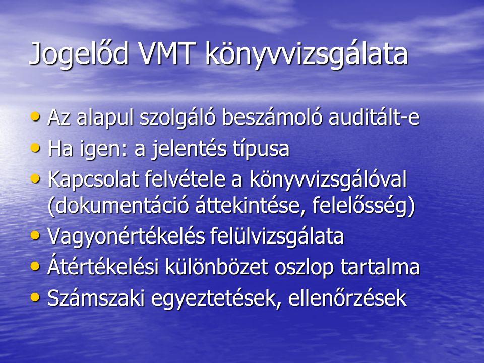 Jogelőd VMT könyvvizsgálata