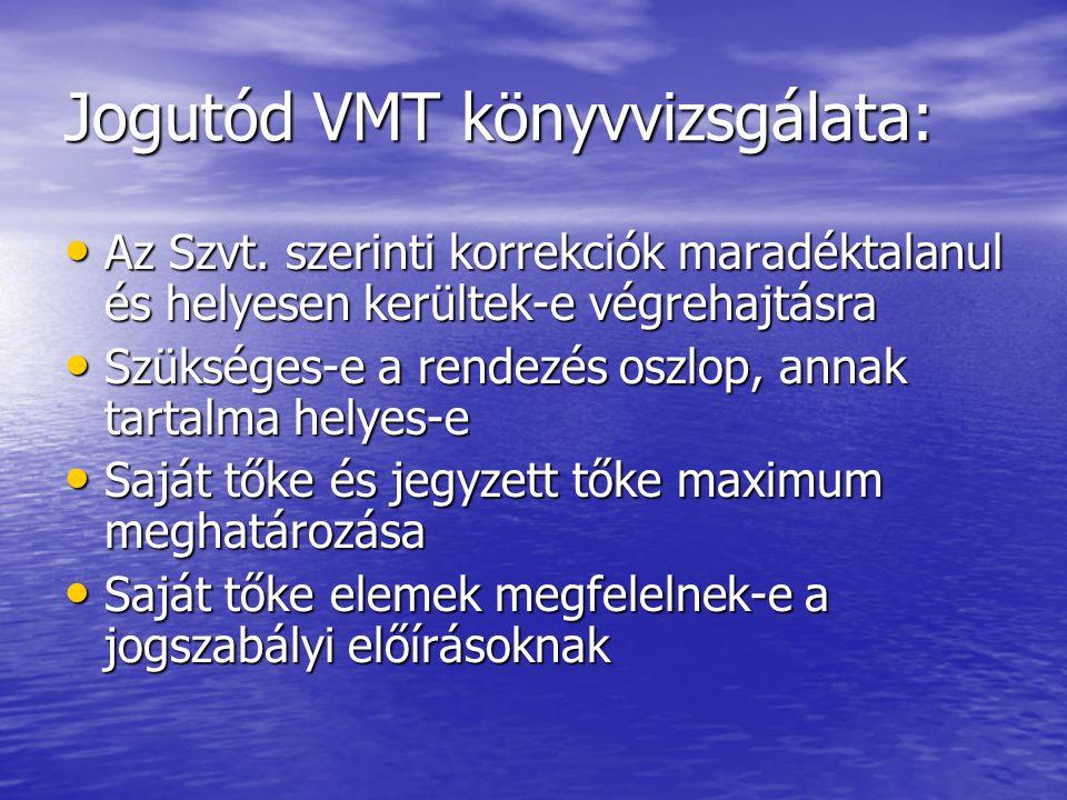 Jogutód VMT könyvvizsgálata: