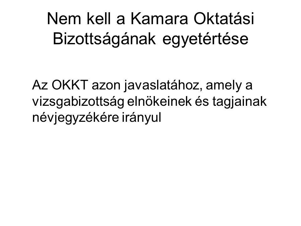 Nem kell a Kamara Oktatási Bizottságának egyetértése