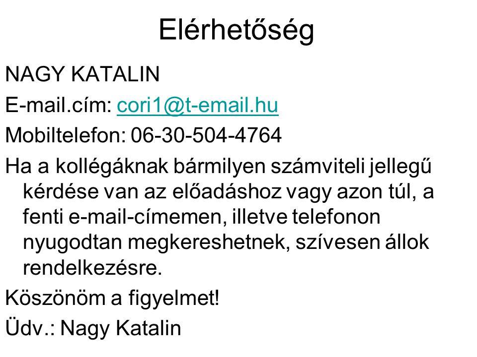 Elérhetőség NAGY KATALIN E-mail.cím: cori1@t-email.hu