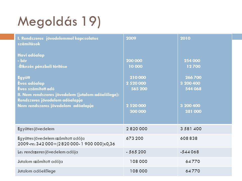 Megoldás 19) I. Rendszeres jövedelemmel kapcsolatos számítások