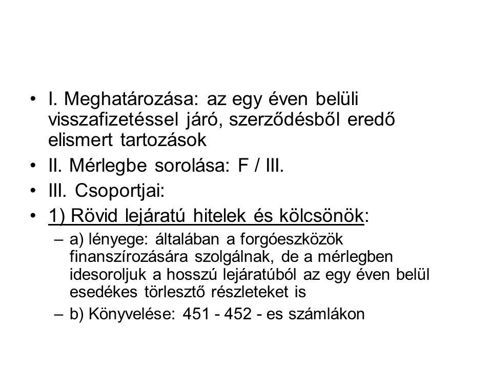 II. Mérlegbe sorolása: F / III. III. Csoportjai:
