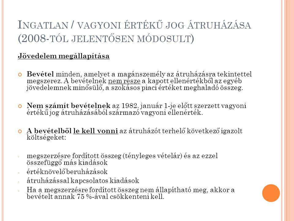 Ingatlan / vagyoni értékű jog átruházása (2008-tól jelentősen módosult)
