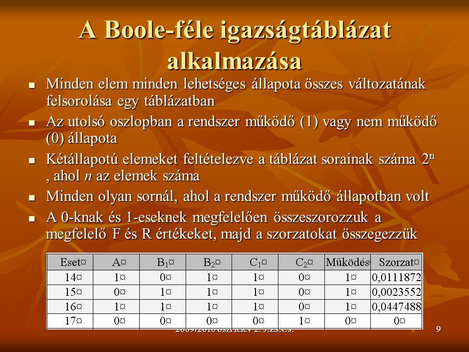 A Boole-féle igazságtáblázat alkalmazása