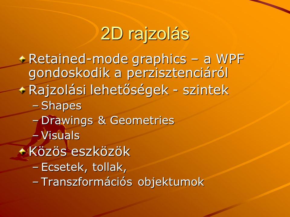 2D rajzolás Retained-mode graphics – a WPF gondoskodik a perzisztenciáról. Rajzolási lehetőségek - szintek.